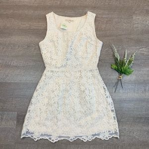 Altar'd State Floral Lace Dress Open Back Ivory S